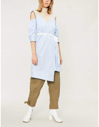 Mo&Co. Off-the-shoulder ruched-sleeve cotton wrap dress