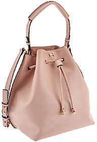 Halston H by Smooth Leather DrawstringBucket Handbag