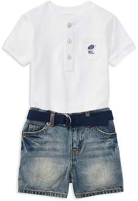 Ralph Lauren Boys' Henley Tee, Belt & Denim Shorts Set - Baby