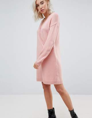 Asos DESIGN Chunky Knitted Dress with Wrap Detail