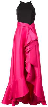 Badgley Mischka two tone cascade gown