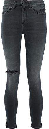 Distressed Faded High-Rise Skinny Jeans