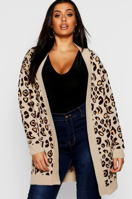 boohoo Plus Leopard Knitted Oversized Cardigan