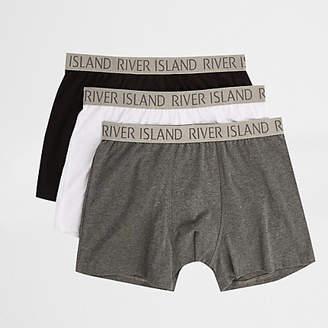 River Island Grey RI print trunks multipack