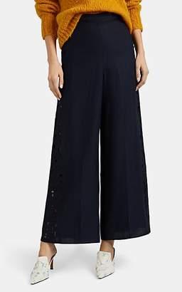 Zimmermann Women's Juno Floral-Eyelet Slub-Linen Wide-Leg Pants - Navy