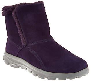 Skechers GOWalk Suede Faux Fur Boots w/ GogaMat - Dazzling