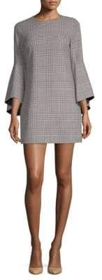 Alice + Olivia Plaid Bell-Sleeve Mini Dress