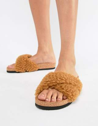 Monki fluffy cross over sliders in Brown faux fur
