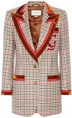 Gucci Velvet-trimmed checked blazer
