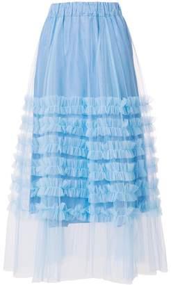 P.A.R.O.S.H. ruffle trim tulle skirt