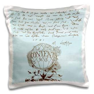 3dRose French Hot Air Balloon with Flying People Vintage - Pillow Case, 16 by 16-inch