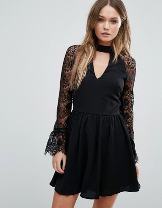 Lipsy Lace Skater Dress With Choker Detail $68 thestylecure.com