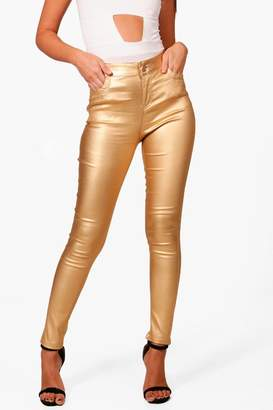 boohoo Riz High Rise Metallic Coated Denim Skinny Jeans