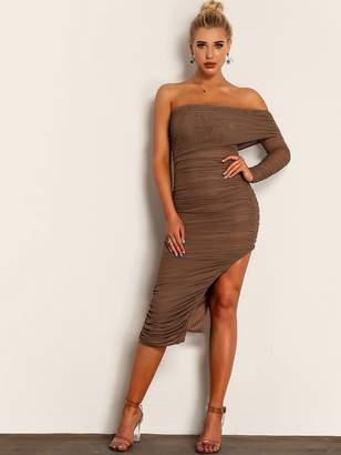 Shein Joyfunear Off Shoulder Asymmetrical Hem Ruched Dress