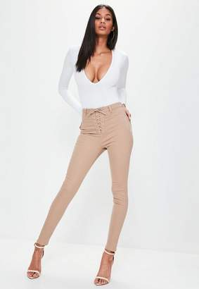 Missguided Camel High Waisted Lace Up Skinny Jeans, Beige
