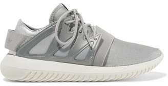 adidas Originals - Tubular Viral Neoprene And Leather Sneakers - Silver $100 thestylecure.com