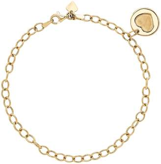14K Gold Dangle Heart Charm Bracelet