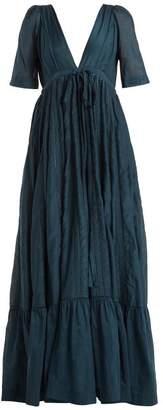 Kalita - Uschi Cotton Blend Maxi Dress - Womens - Dark Green