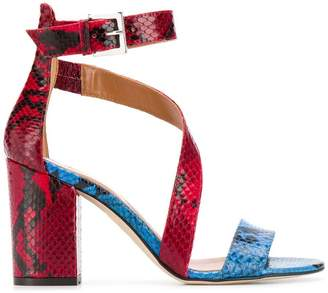 Paris Texas snake skin strappy sandals