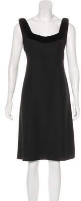 Blumarine Fur-Trimmed A-Line Dress