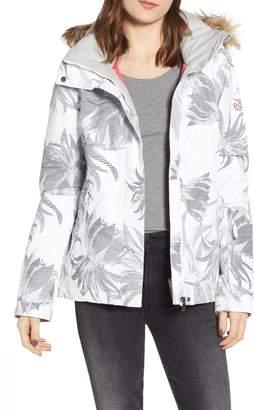 Roxy Jet Ski Slim Fit Waterproof WarmFlight(R) Insulated Snow Jacket with Faux Fur Trim