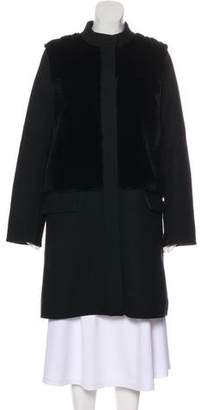Vince Fur-Accented Wool Coat
