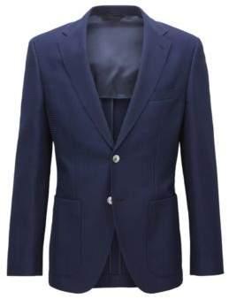 BOSS Hugo Waffle-Knit Wool Cotton Sport Coat, Regular Fit Janson 38R Dark Blue