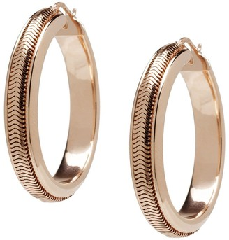 Italian Silver Sterling Snake Chain Round Hoop Earrings