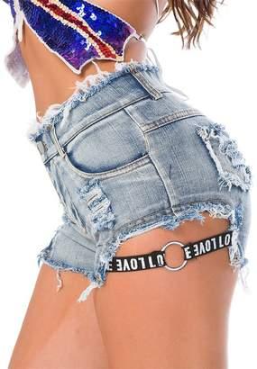 a8378d0df12 Cresay Women s High Waist Denim Jeans Shorts Mini Hot Pants Clubwear  Outfits-L