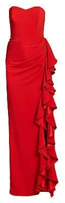 Badgley Mischka Women's Strapless Ruffle Gown