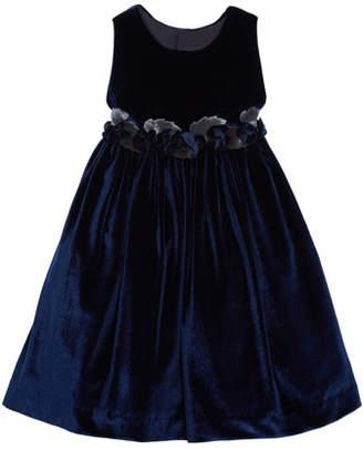 Isabel Garreton Sleeveless Velvet Dress With Rose Trim & Button-Back, Size 3T-8