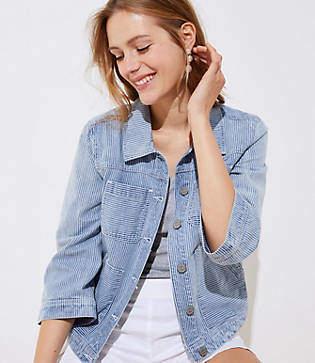 LOFT Striped Denim Pocket Jacket