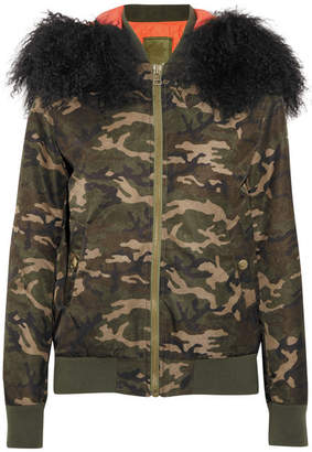 Mr & Mrs Italy Shearling-trimmed Camouflage-print Canvas Bomber Jacket - Army green