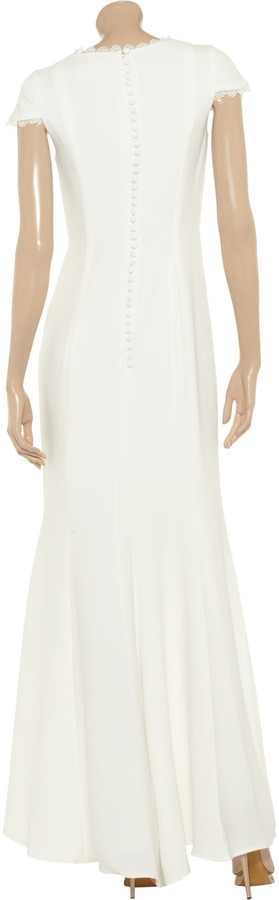 Mikael Aghal Lace-trimmed crepe gown