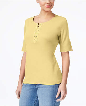 Karen Scott Cotton Lace-Up T-Shirt, Created for Macy's