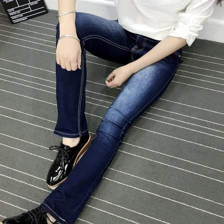 TRYIF Fashion Cross Pattern Pockets Smudged Bootcut Women's Jeans New Trousers