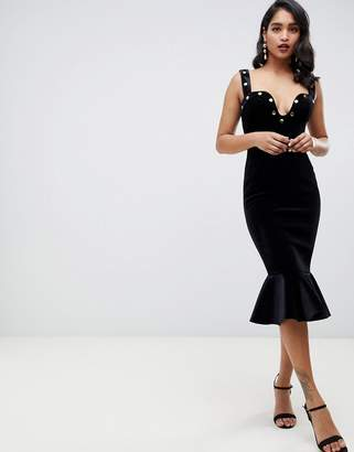 Asos DESIGN Premium velvet stud detail midi bodycon dress
