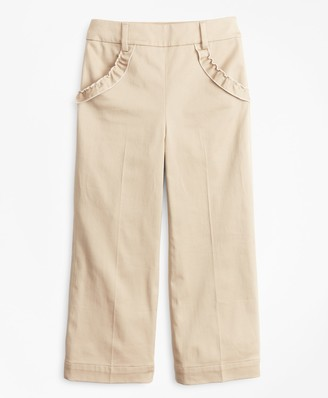 Brooks Brothers Girls Cotton Blend High Rise Ruffle Pants