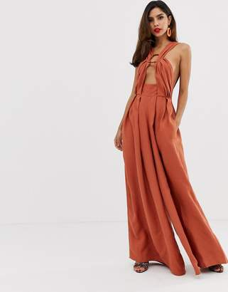 Asos Edition EDITION ring detail wide leg jumpsuit