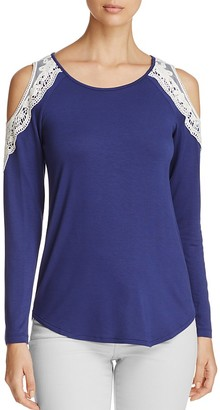 Design History Cold-Shoulder Lace Trim Top $78 thestylecure.com