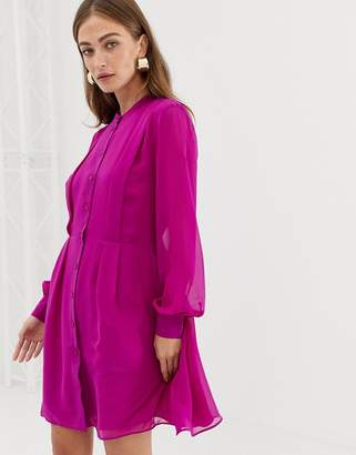 Warehouse shirt dress with grandad collar in bright pink