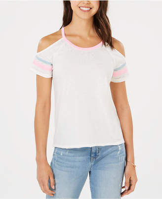 Hippie Rose Juniors' Cold-Shoulder Football T-Shirt
