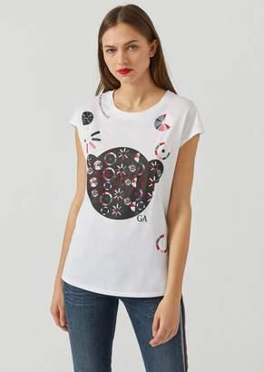 Emporio Armani Manga Bear T-Shirt With Abstract Print