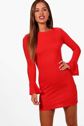 boohoo Petite Ruffle Cuff Long Sleeve Bodycon Dress