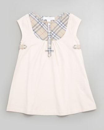 Burberry Newborn Check-Bib Dress, Ice Pink