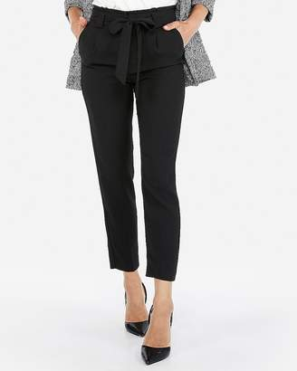Express Petite High Waisted Sash Tie Straight Leg Ankle Pant