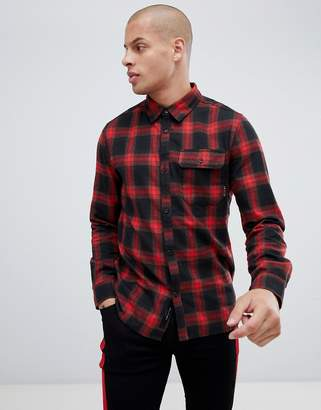 Religion Slim Fit Check Shirt In Red