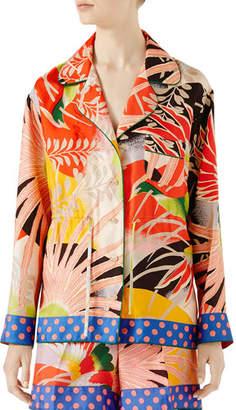 Gucci Tropical Bird-Print Pajama Shirt