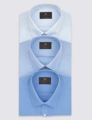 Marks and Spencer 3 Pack Cotton Blend Slim Fit Shirts