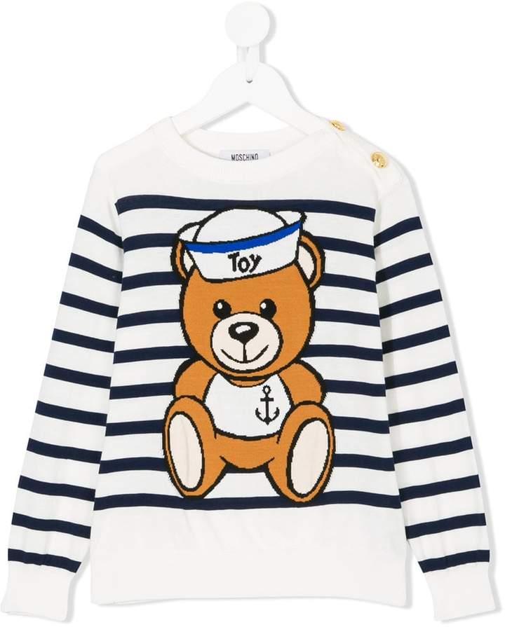 Moschino Kids striped bear sweater